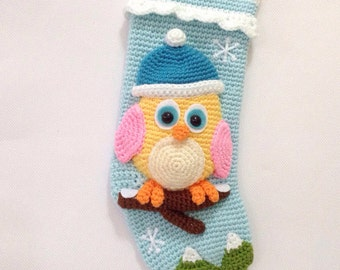 PATTERN-Little Bird Christmas Stocking-Crochet Pattern, pdf