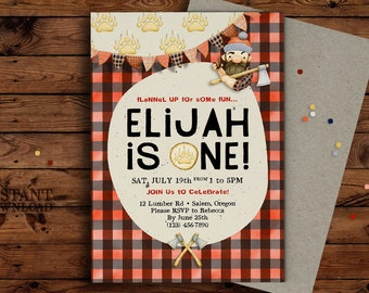 Lumberjack Birthday Party Invitation, Lumberjack Birthday, Boy Birthday, Cute, Buffalo Plaid, Personalized Invite, Custom, DIY, Printable
