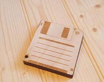 Laser cut Floppy Disk coaster set of 4