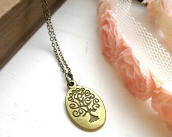 Wisdom Tree Antique Brass Necklace
