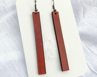Handmade Leather Earrings - Leather Strip Earrings - Saddle Tan  Leather Earrings