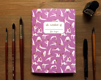 Yoga Notebook, Yoga gift, A5 notebook, Grid notebook, gift for yogi, lilac