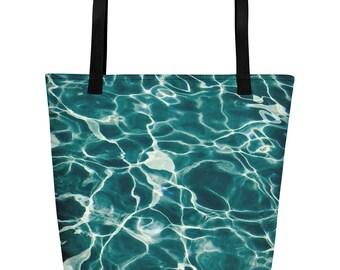 Ocean Large Beach Tote Bag Ocean Life Tote Travel Bag Carry On Tote Bag Overnight bag Raging Water Custom Tote Bag