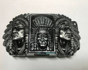 Indian Chief Lighter Belt Buckle With Lighter In Design