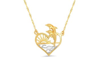 14k two tone solid gold dolphin sunset heart necklace. sea life jewelry, dolphin jewelry