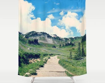 Fabric Shower Curtain, Bathroom Decor - Mountain Landscape, Hike, Trail, Go Outdoors, Photography by RDelean Design