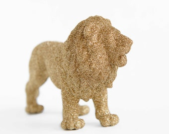 Gold Safari Baby Shower Decoration Lion Cake Topper Jungle Birthday Party Centerpiece Nursery Room Decor Kid's Playroom Idea for New Moms