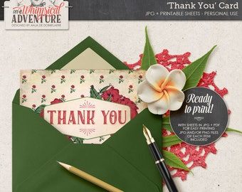 Thank You Printable Card, Digital, Printable Postcard, For Him, For Her, Instant Download, Grungy Vintage Postcard, Hibiscus, Tropical