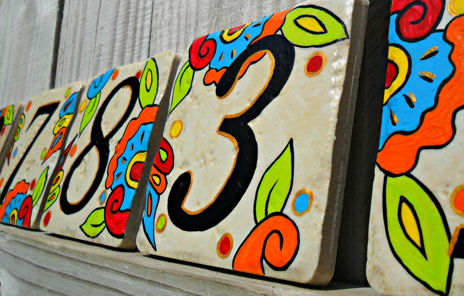 Hand painted house numbers address tiles spanish zoom dailygadgetfo Gallery
