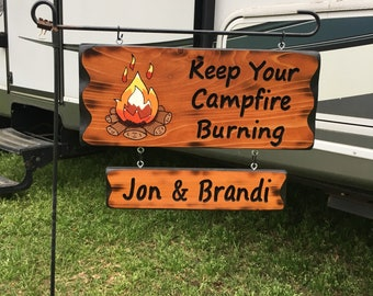 Camping Sign with Fire #004