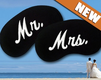 Mr and Mrs Custom Made Embroidered Eye Masks - SALE  - favorite on pinterest tumblr instagram polyvore