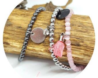 3 bracelets semis gems. Pink Silver trilogy