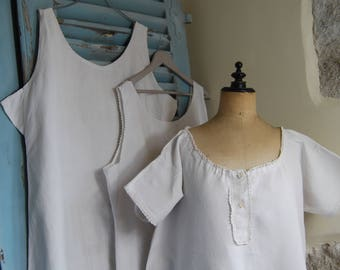 4 Antique French Chemises XL 2 x Sleeveless, 2 x Short sleeves 52 ins Chest