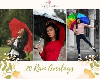 20 Rain Overlays, Falling Rain effects weather overlays, Winter Nature Overlays, Photography texture Photo Prop, Rain Photoshop Overlay