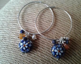 Handpainted bead and mixed gemstone sterling silver hoop earrings
