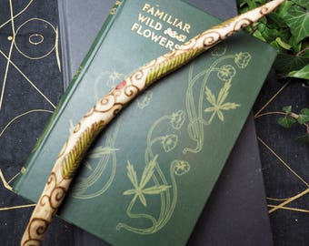 English Yew Wood Wand - With Yew leaves & Spirals - Pagan, Wicca, Witchcraft, Ogham, Folk Magic
