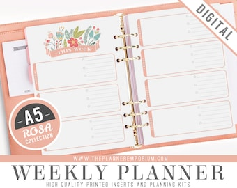 A5 Weekly Planner Inserts - ROSA Collection - Fits Kikki K Large, Filofax A5 Printable Pages - Week on Two Pages - Pink Floral Design