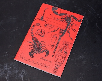 Glow-in-the-Dark Scorpion Screen Printed Softcover Journal | Recycled Paper Notebook Fluorescent Entomology Biology Student Insect, Bug