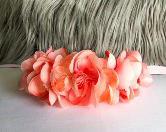 Peach Cherry Blossom Pet Flower Crown