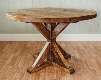 Round Farm Table with Trestle Base