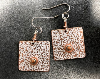 Textured Copper Square Earrings
