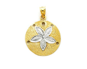 14k Gold Sand Dollar Pendant, Gold Sand Dollar Pendant, Two Tone Sand Dollar Pendant, Sand Dollar, Tropical, Beach