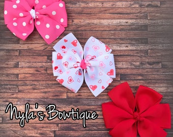 Valentine Hair Bows, Valentine's Day Hair Bow Set, Pinwheel Hair Bows, School Hair Bows, Hair Bow Set, Valentine Gift for Girls