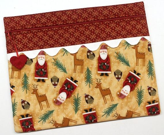 Folk Art Santa Cross Stitch Embroidery Project Bag
