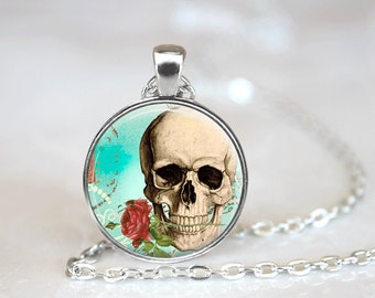Glass Tile Necklace Sugar Skull Necklace Glass Tile Jewelry Skull Jewelry Black Jewelry Day of the Dead Silver Jewelry Black Necklace