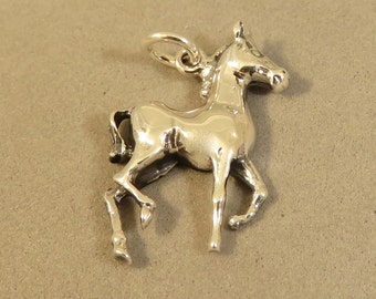 Sterling Silver PRANCING HORSE Charm Pendant 1 Sided Pony Colt Mare Stallion Equestrian Dressage Cowboy Riding .925 Sterling Silver New hs27