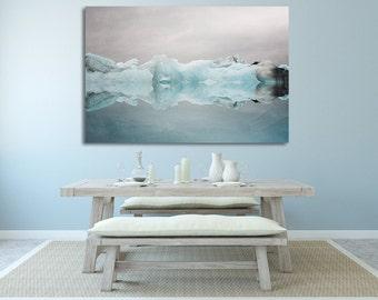 "Extra Large Wall Art, Canvas Art, Blue Wall Decor, Canvas Print, Iceland Iceberg, Winter Landscape Photo, Home Decor ""Under the Glacier"""