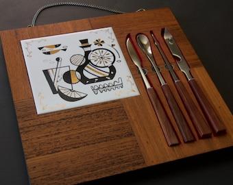 Vintage Mid Century Teak Hanging Bar Utensil Cutting Board