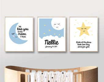 Nursery Printable Name Art Prints, Digital Moon Stars Love, Custom Name Nursery Art Print Baby Boy Girl Nursery Printable / INSTANT DOWNLOAD