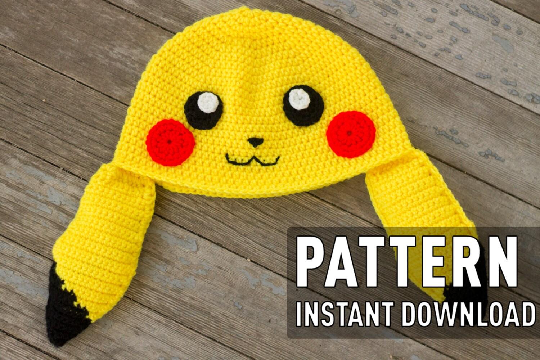Crochet Pattern Pikachu Inspired Beanie Crochet Pattern Electric ...