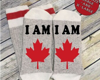 Word Socks - Novelty Comfy Cotton or Wool Men's Socks - If you can read this - I am Canadian - Funny Socks - Socks with Sayings - Custom