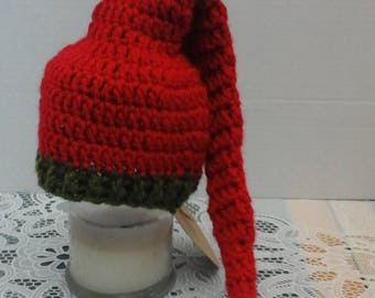 newborn elf hat, santa hat, crochet baby, ready to ship, baby beanie, baby hat, Christmas hat, holiday hat