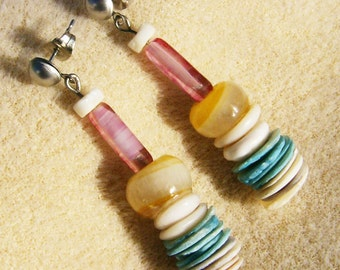 Quirky Dangle Earrings - Handmade White, Pink, Yellow & Turquoise by JewelryArtistry - E487