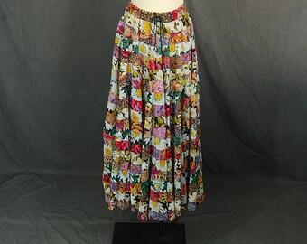 vintage 90s Maxi Skirt - India Cotton Skirt - Cotton Gauze Skirt 1990s Hippie Patchwork Floral Skirt Sz S M L