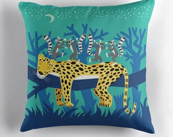 The Leopard and The Lemurs - throw pillow cover including insert - nursery decor - by Oliver Lake