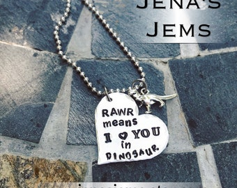 Hand Stamped Rawr Means I Love You In Dinosaur with T-Rex Charm Necklace