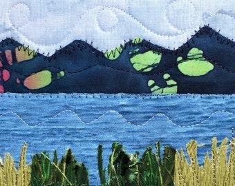 Travel Keepsake - Lake Landscape - Gift for Him - Hostess Gift - Fabric Postcard - Mountain Art - Vacation Memories - Home Decor Art
