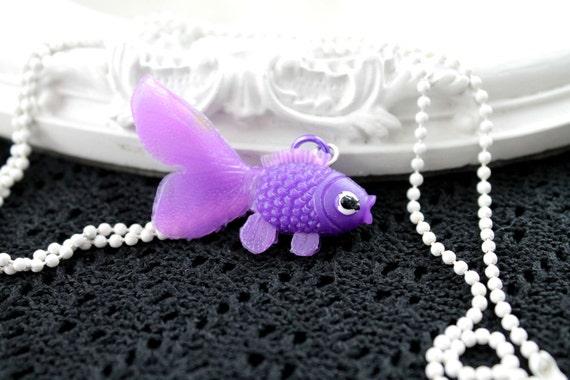 Kawaii purple goldfish simple necklace cute lolita girl retro  white  chain