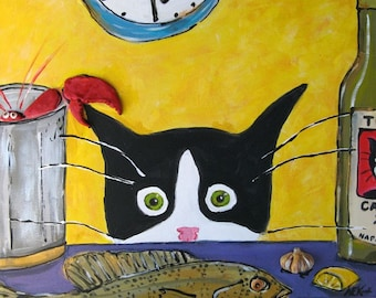 Funny Cat Art - Tuxedo Cat with Lobster - Tuxedo Cat Print - 5x7  Print - Silent Mylo Tuxedo Cat - Gift for Cat Lover