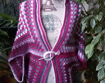 Granny square crochet jacket with great color gradient yarn that also silky shine