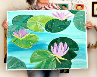 Original Water Lilies painting on paper HUGE hand painted mixed media waterlily water lily lotus painting by TASCHA