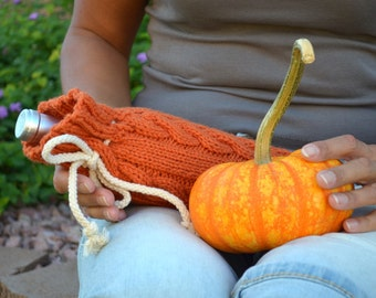 Wine bottle cozy cable knit pumpkin orange Thanksgiving hostess gift