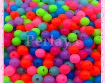 REF2669 - Lot de 1000 perles fluos rondes en acrylique 6mm