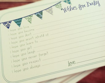 Professionally Printed Wishes for Baby Boy Cards - Unique Baby Shower Activity Game or Memory Book Idea - Blue and Green