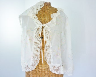 IMAGNIN 60s Chiffon Sheer Ruffle Lace Bed Jacket Unworn 38 Bust