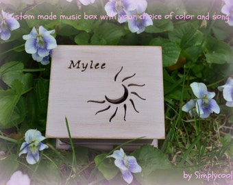 music box, wooden music box, custom made music box, sun music box, personalized music box, musical box, moon music box, sun and moon